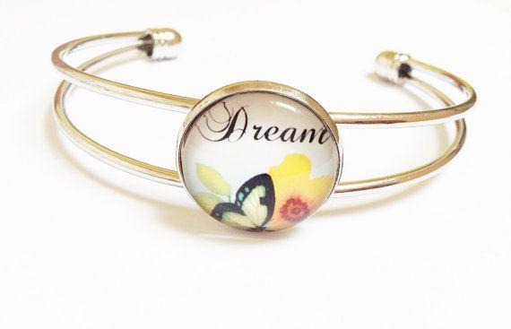 armband, dream vlinder, zilveren vergulde cabochon bangle, beste vriend aanwezig voor een speciaal iemand, als cadeau van de bruidsmeisjes, dank u aanbieden