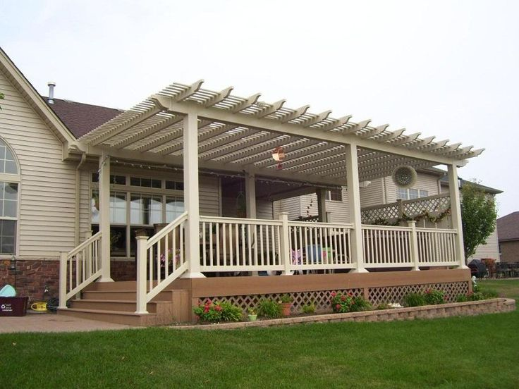 Wonderful Vinyl Pergola On Deck With Louvered Slats Shade Interior Design - GiesenDesign