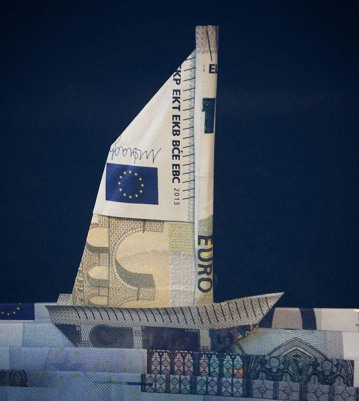 Origami Geldschein Segelschiff