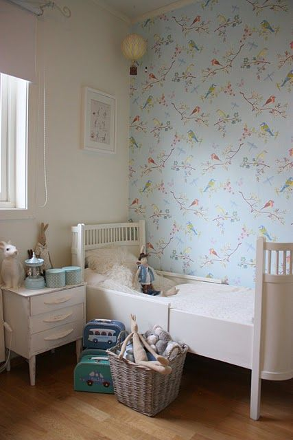 I love the sweet bird-pattern wallpaper in this adorable nursery!: Toddlers Rooms, Children Rooms, For Kids, Vintage Suitca, Child Rooms, Little Girls Rooms, Baby Rooms, Lady Rooms, Kids Rooms