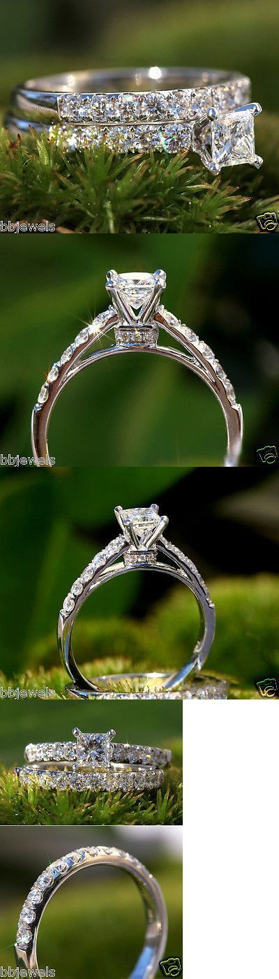 Wedding rings: 1.30Ct Princess Cut Diamond Solitaire Bridal Set Engagement Ring 10K White Gold -> BUY IT NOW ONLY: $299.99 on eBay!