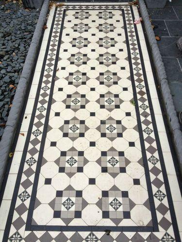 Victorian Mosaic Path/Floor Tiles Black/White/Grey/Flower Design 35/50mm Oct/Tri | eBay