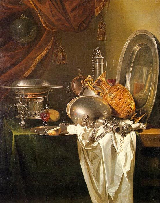 Still Life with Chafing Dish, Pewter, Gold, Silver, and GlasswareWillem Kalf  (b Rotterdam, 1619; d Amsterdam, 31 July 1693).   Dutch painter, art dealer and appraiser. He was thought for a long time to have been born in 1622, but H. E. van Gelder's important archival research established the artist's correct place and date of birth. Kalf came from a prosperous patrician family in Rotterdam, where his father, a cloth merchant, also held municipal posts. In the late 1630s he travelled to Paris and spent a long time in the circle of Flemish artists in St Germain-des-Prés, Paris. In Paris he painted mostly small-scale rustic interiors and still-lifes. Kalf's rustic interiors are dominated by accumulations of buckets, pots and pans and vegetables, which he arranged as a still-life in the foreground (e.g. Kitchen Still-life, Dresden, Gemäldegal. Alte Meister). Figures usually appeared only in the obscurity of the background. Though painted in Paris, these pictures belong to a pictorial tradition practised primarily in Flanders in the first half of the 17th century by such artists as David Teniers. The only indications of their French origin are a few objects that Flemish exponents of the same genre would not have incorporated into their works. Kalf's rustic interiors had a major influence on French art in the circle of the Le Nain brothers. The semi-monochrome still-lifes Kalf produced in Paris form a link with the banketjes or 'little banquet pieces' painted by the Dutch artists Pieter Claesz., Willem Claesz. Heda and others in the 1630s. During the course of the 1640s Kalf developed the banketje into a new form of sumptuous and ornate still-life  (pronkstilleven), depicting rich accumulations of gold and silver vessels. Like most still-lifes of this period, these were usually vanitas allegories. The Artists, 17Th Century, Kalf Dutch, Chafing Dishes, Nature Mort, Life Art, Willems Kalf, Life Painting, 1619 1693