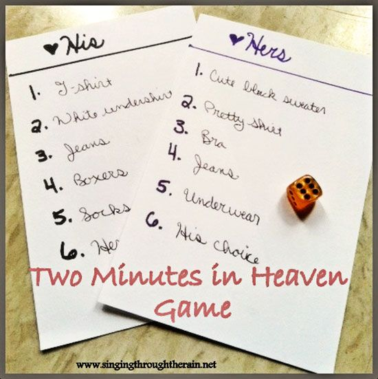 Two minutes in Heaven game to spice things up in THAT room. ;)