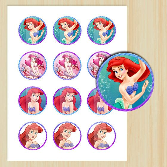 Instant Download 2 Circles Little Mermaid Cupcake Toppers Tags