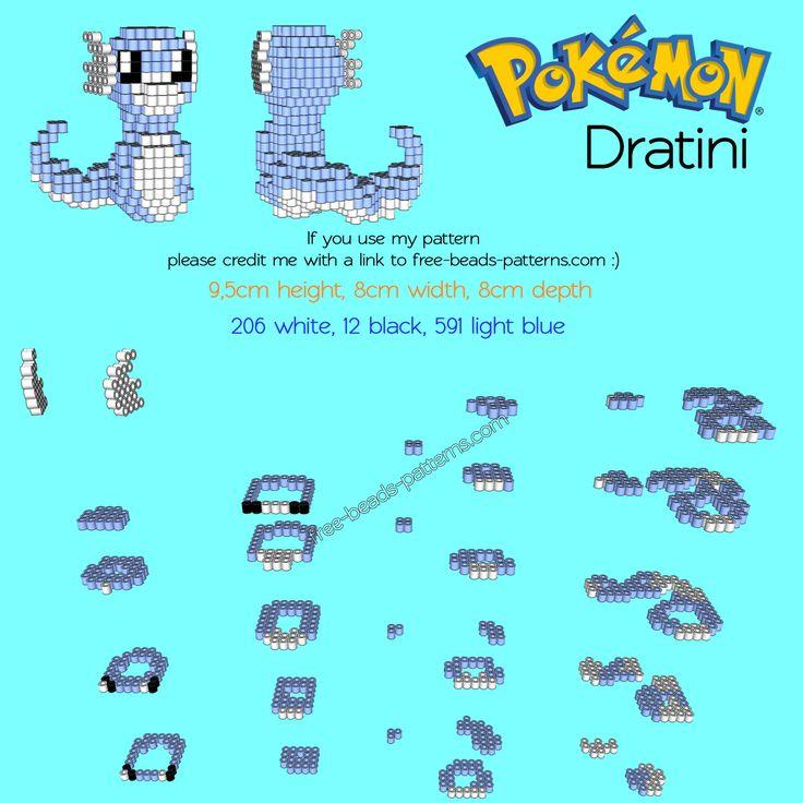 Pokemon Dratini 3D perler beads hama beads pyssla pattern tutorial