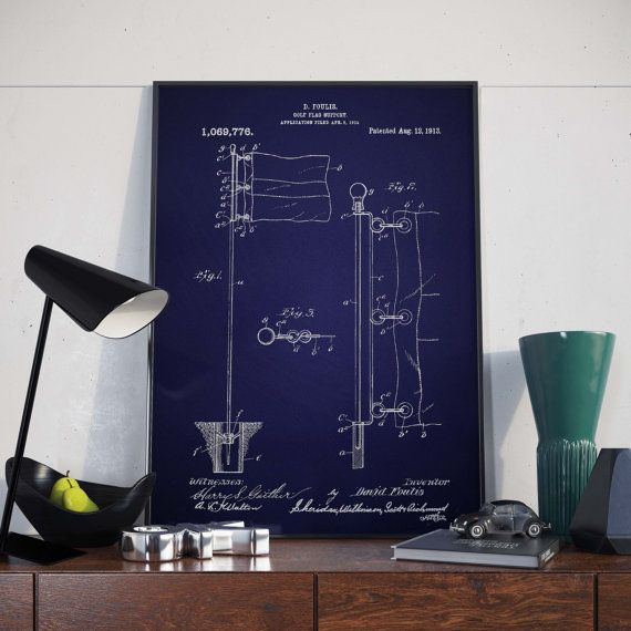 Golf Wall Poster Golf Flags Golf Gifts Golf Patents