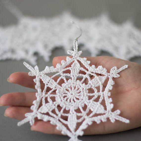 Set of 6 crochet snowflakes crochet Christmas ornaments