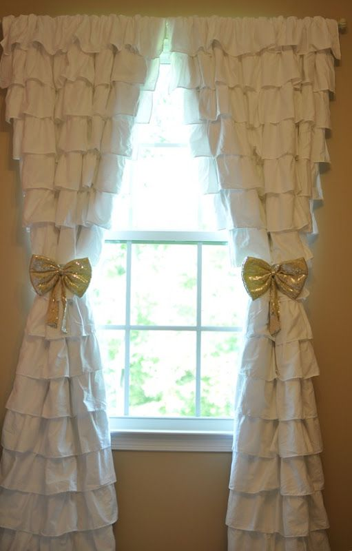 Ruffle Curtains, Nursery, Gold Tie-Backs