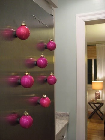 Cheap Christmas Ornaments on clearance? Turn them into magnets and decorate your fridge for the holidays!
