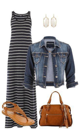 Summer outfit inspo: maxi skirt, denim jacket, thong sandals, fab handbag, cute earrings, done!