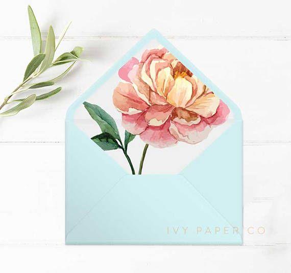 Garden Wedding Envelope Liners  Wedding Invitations  Pink