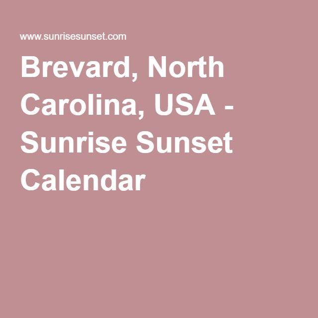 Brevard, North Carolina, USA - Sunrise Sunset Calendar