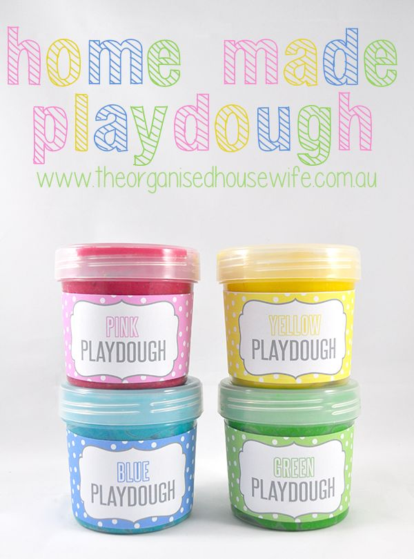 Home-made Playdough...12 colored labels included.