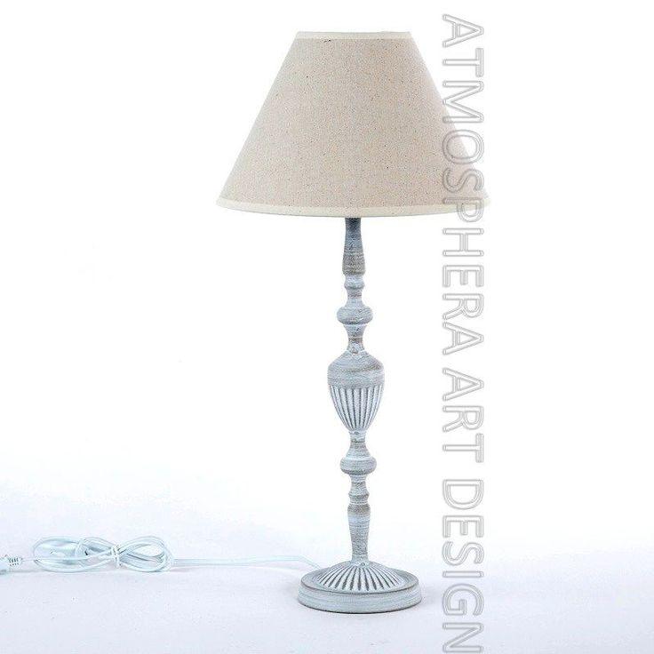 LAMPADA ABAT-JOUR legno da tavolo h.57 paralume tessuto Ecru' Shabby chic (063)