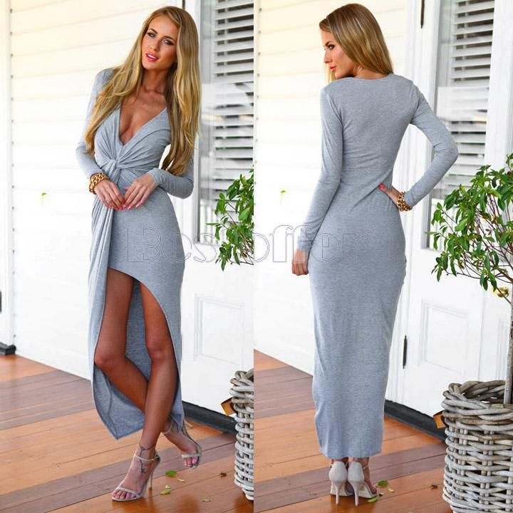 Sexy Women Deep V Neck Split Front Slim Party Evening Clubwear Slit Knot Maxi Long Sleeved Dress $13.83 (free shipping)