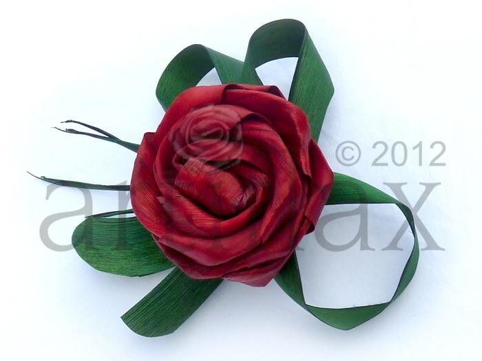 Artiflax - weddings - Red flax flower corsage