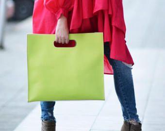 Bolso de embrague embrague de cuero verde bolso de mano
