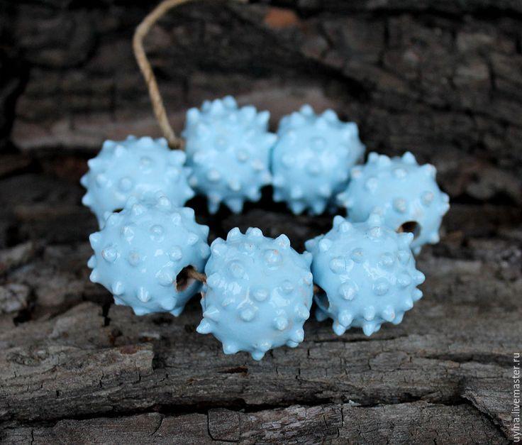 """Купить Бусины керамика """"Замерзшие"""" - голубой, керамические бусины, бусины ручной работы, авторские бусины"""