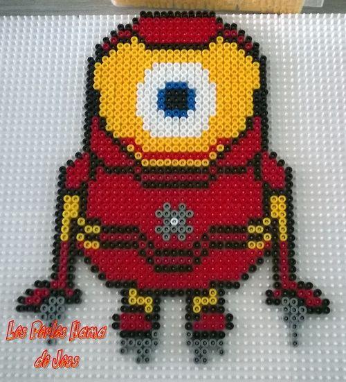 Iron Man Minion Avengers hama perler beads by Jessica Bartelet - Les perles Hama de Jess