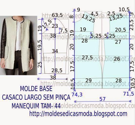 CASACO LARGO SEM PINÇA TAM-44 Para executar este molde de casaco, todas as operações que é necessário efectuar serão pormenorizadas com rigor seguindo a or