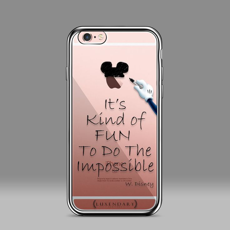 DO THE IMPOSSIBLE W. Disney quote with mickey miney sketching clubhouse ears Ultra Slim Clear Case Chrome Finish for iPhone 6/s 6Plus/6sPlus