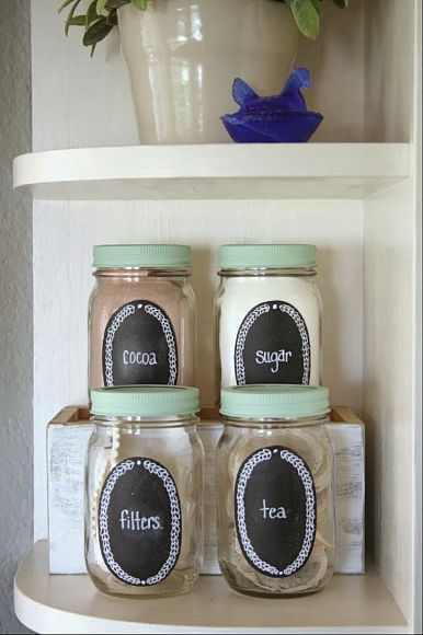 Paint a small section of your Mason jars with chalkboard paint to create labeled countertop storage. Get the tutorial at DecoArt Blog.   - CountryLiving.com