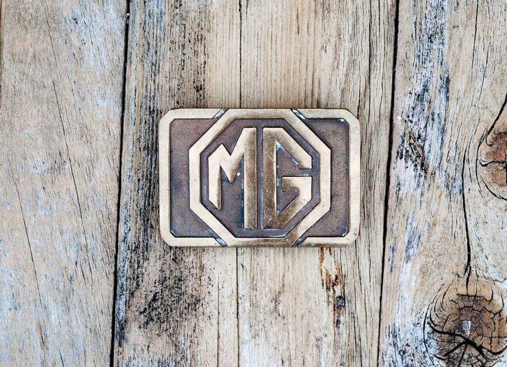 Belt Buckle, MG Motors, Brass Belt Buckle, USA Made, Solid Brass, British Iconic Brand, Interchangeable, Unisex Buckle, Stocking Stuffer by FauxyFurrVintage on Etsy