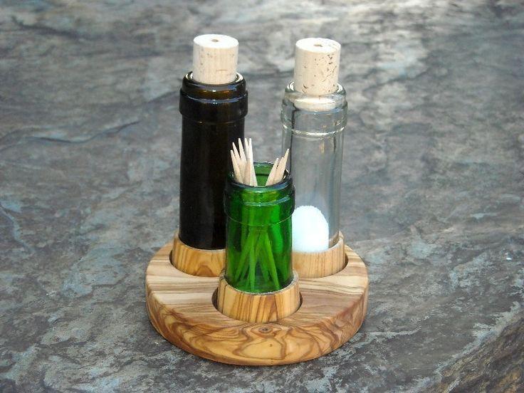 Set+Salz+&+Pfeffer+recycelte+Flaschen+++Olivenholz+von+Alentejoazul+auf+DaWanda.com
