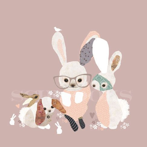 Pink Bunny Print Girls Nursery Room - 'Bunny Business'.