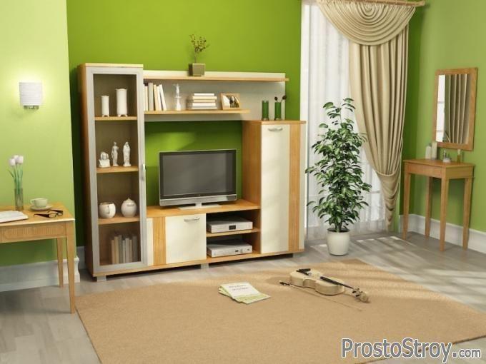 Мини стенка под телевизор в интерьере комнаты