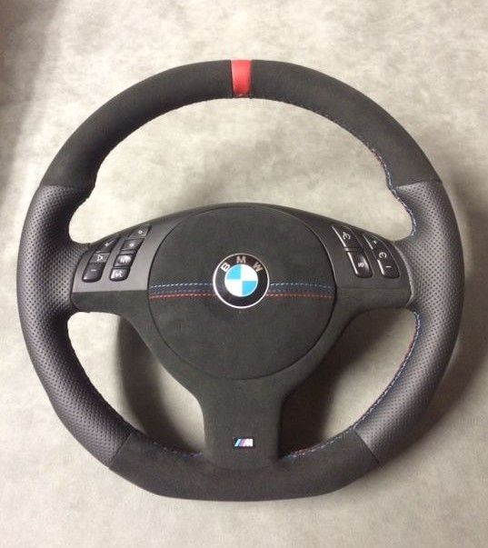 BMW E46 flat bottom/top steering wheel made by TiggyDesign with airbag cover .