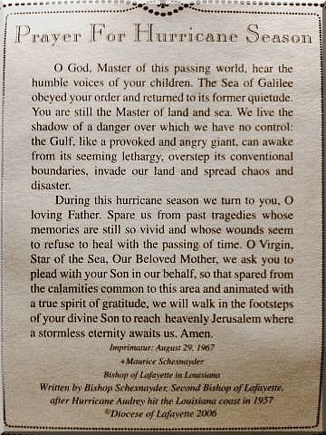 Prayer For Hurricane Season June Through November Louisiana Pinterest