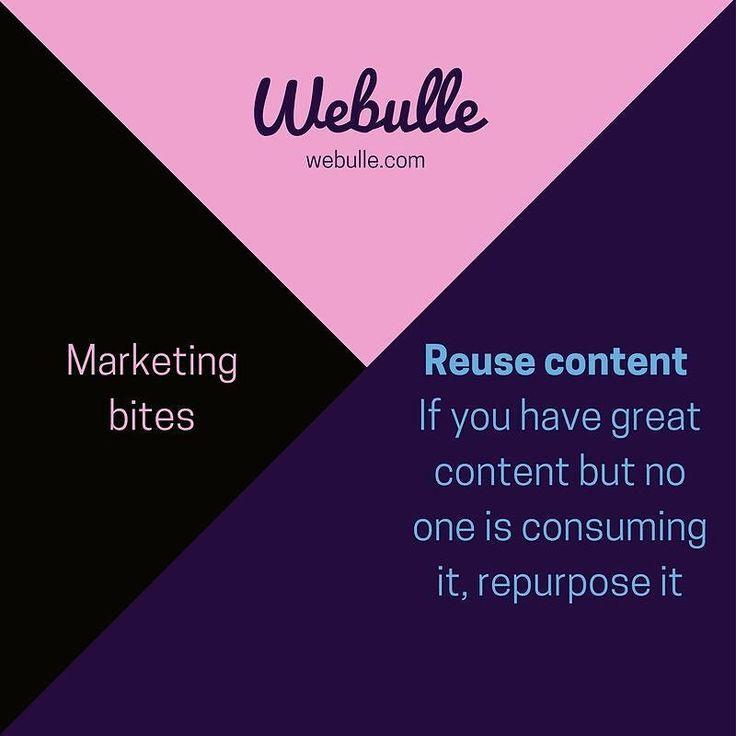 Webulle #marketing bites -  re-use #content