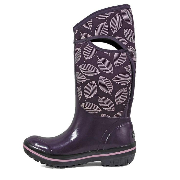 Bogs Women's Plimsoll Leafy Tall Waterproof Winter Boots (Eggplant Multi)