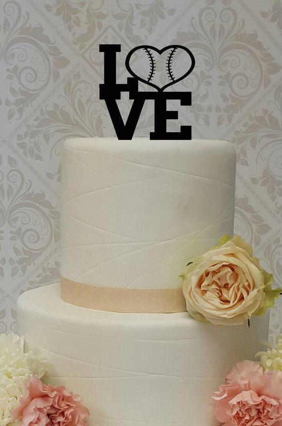 baseball theme love cake topper wedding grooms cake