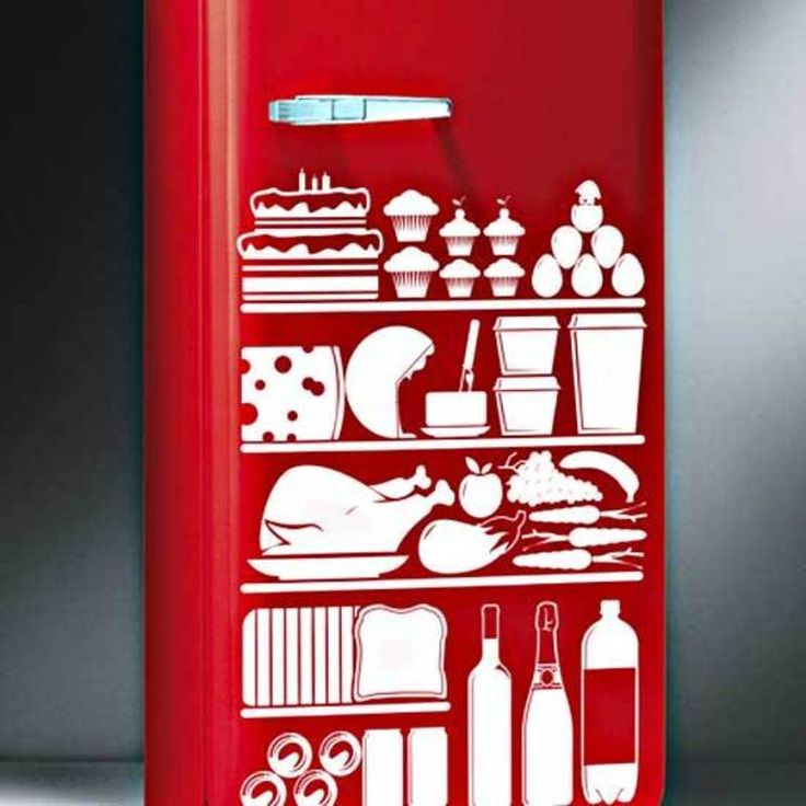 Kitchen Vinyl Stickers Food Refrigerator Decor on Exterior Design