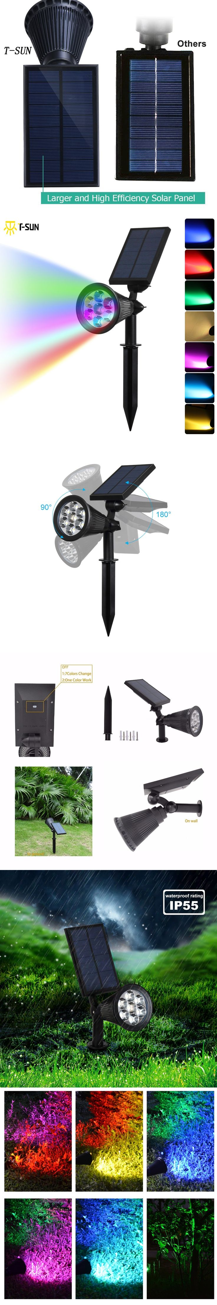 T Sun 7 Led Auto Color Changing Solar Spotlight Outdoor Lighting Ed Security
