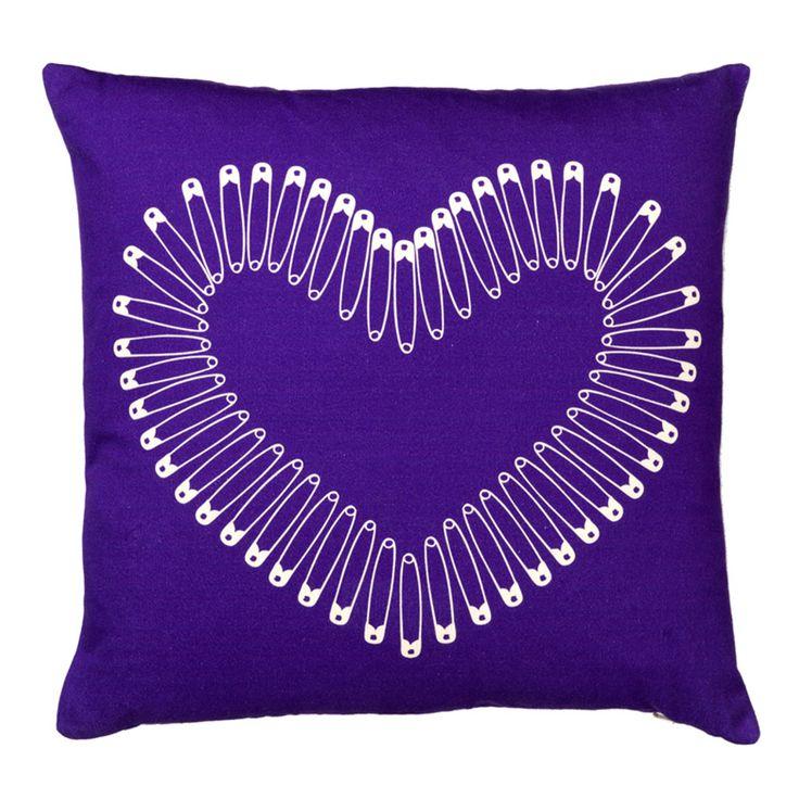 heart pin purple cushion