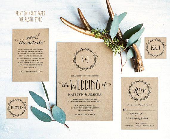 Classic Wreath Wedding Invitation Template, Rustic Wedding Invitation,  Kraft Wedding Invitations, DIY Wedding