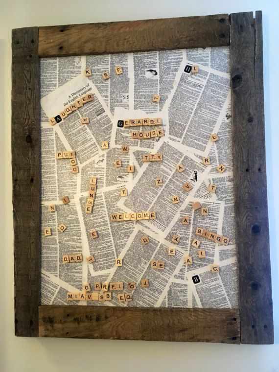 Magnetic scrabble board word boardrustic word by GerardiHouse