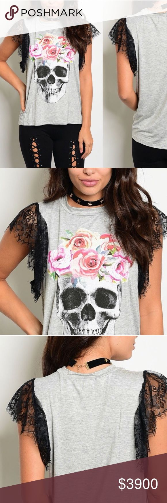 Black lace skull and roses top Black lace skulls and roses in heather grey. 96% cotton, 4% spandex. GlamVault Tops Tees - Short Sleeve