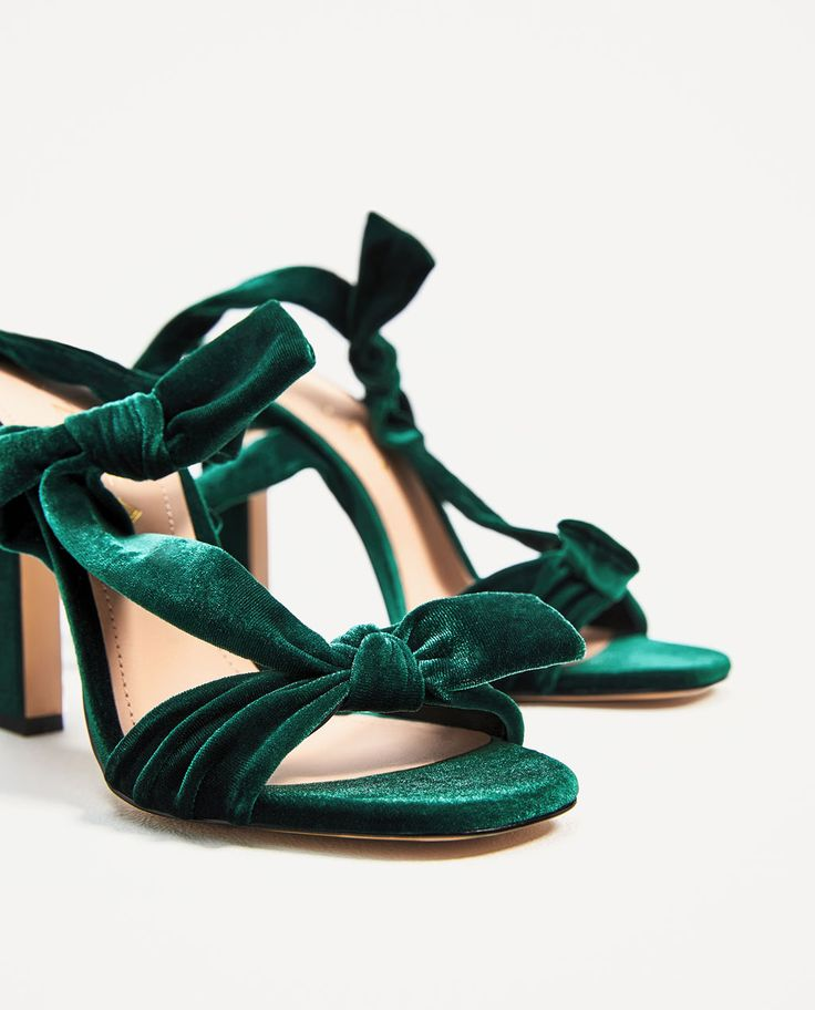 Image 1 of VELVET LACE-UP HIGH HEEL SANDALS from Zara