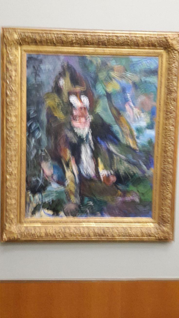 Dit is een schilderij van de kunstenaar Oskar Kokoschka. Deze man schilderd heel vaak dieren in kleurrijke kleuren. Dit portret heet 'De Mandril'. Het is de mandril George uit een dierentuin in London.