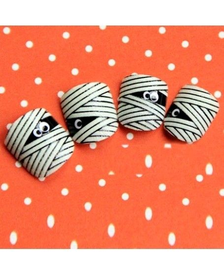 Nail Art Photos - Decorate your nails with these cartoon mummy design false nails for wedding, party or dating purpose. The unique mummy design makes the nails look individual and vogue. The 24 pieces are of different sizes to suit every different finger nail. And the included glue makes them stand firmly and not easy to fall off. - Pinnailart, Organize and Share Nail Art Photo/Image and Video You Love. Nail Art's Pinterest !