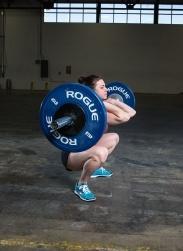 Squat clean, bottom position. Julie Foucher.