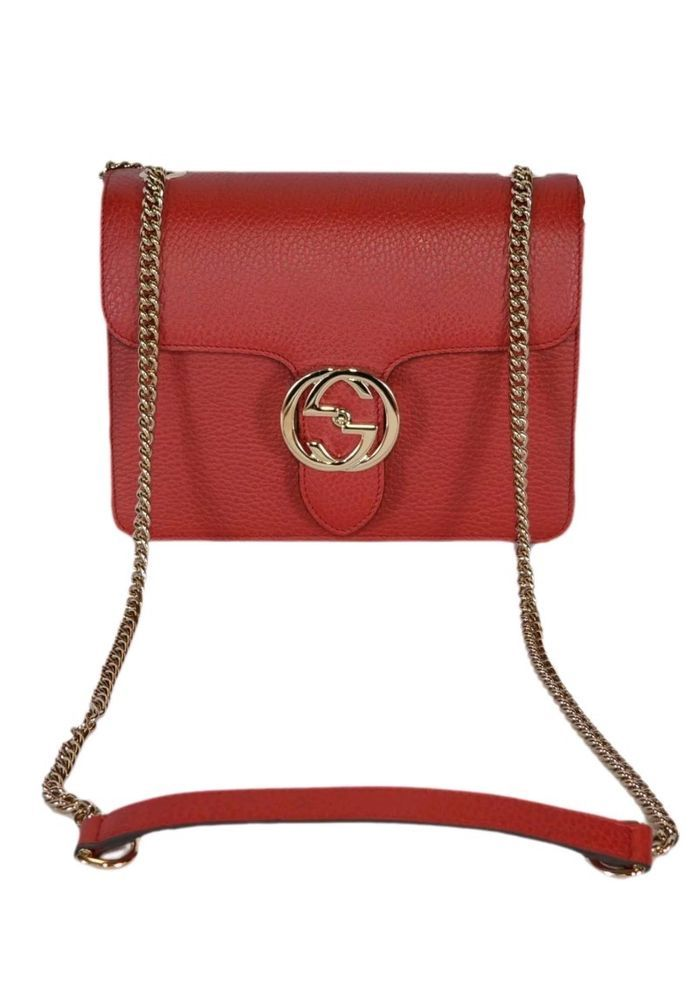 689ab8173986 NEW Gucci Women's Red Leather 510304 Interlocking GG Crossbody Purse Handbag  #Gucci #Crossbody