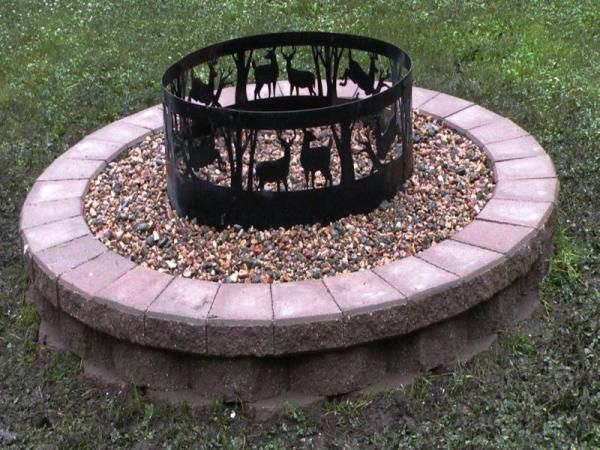 fire pit with metal deer - Fire Rings