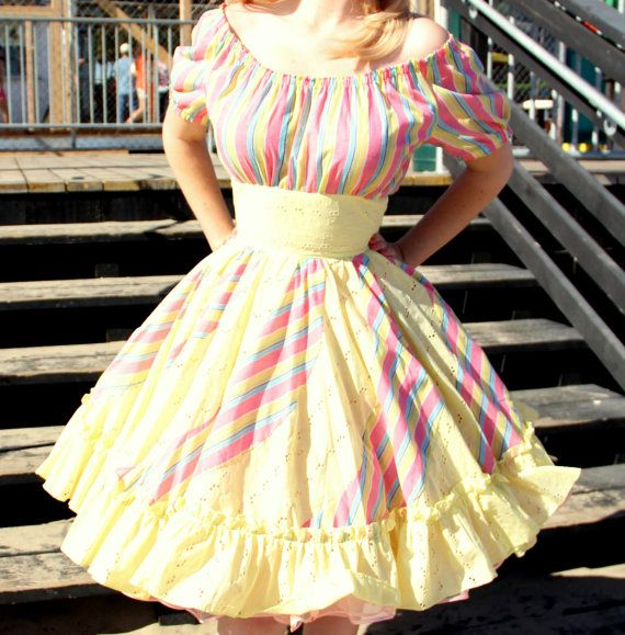 Vintage 1950s Square Dance Dress Summer Pastels in by DaintyRascal, $128.00