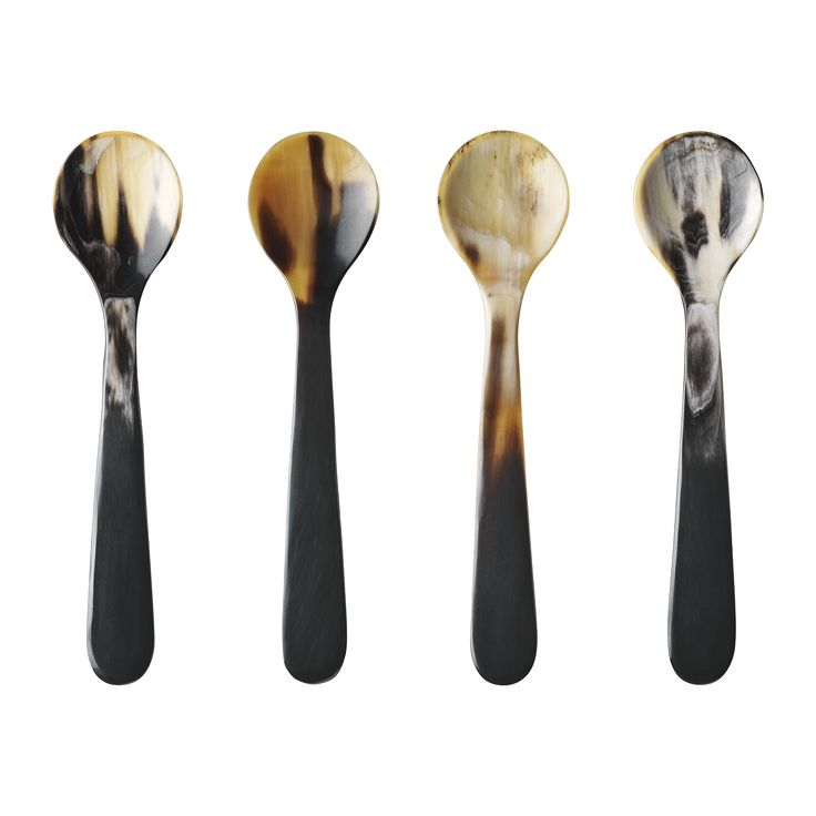 Designed by Alfredo Häberli for Georg Jensen, Alfredo Horn is a set of 4 spoons made using with natural cow horn.